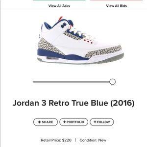 Boys Nike Jordan 3 retro OG TRUE BLUE (2016)